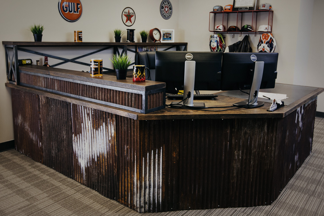 Customizable Gina Desk with corrugated aluminum and wood surface
