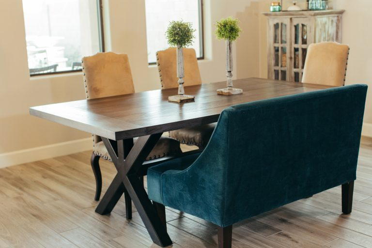 Our Custom Trestle Table Would Look Great In Any Dining Room! It Features A  2u201d Thick Oak Tabletop That Sits Atop A Classic Railroad Trestle Type Base.