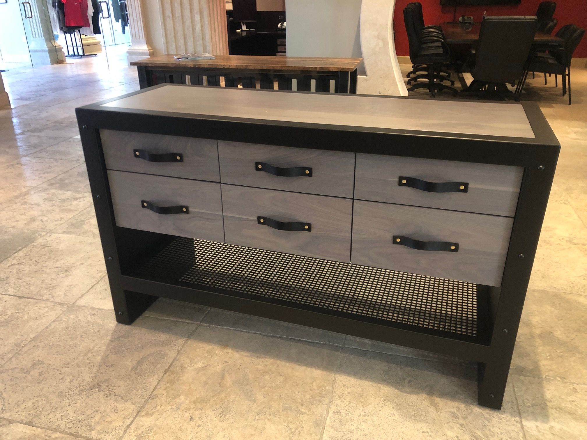 Strap drawer console table